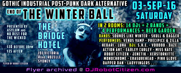 Australian Gothic Industrial Post Punk Dark Alternative Night Clubs Parties Sydney NSW Australia Top Best Goth Indie Punks Cyber Goths Rivetheads Indie Nightclub Club DJs History Subculture Scene Scenes Photos Flyers Fashion DJ Robot Citizen Melbourne Perth Canberra