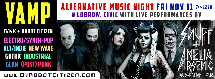 Australian Dark Alternative Night Clubs Goth Scene Gothic Industrial Indie Pop Dance Punk Rock Top Best Nightclub Club Nights DJs Australia Canberra Sydney Electronic Aggrotech Hip Hop Bands ACT Artist 2016 2017 Tour DJ Robot Citizen Lady K Party Events