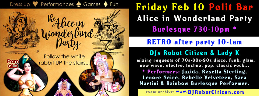 Australian Canberran Burlesque Cabaret Dance Scene Canberra Australia Groups Acts Events Performances Clubs Nights Parties Jazida Rosetta Sterling Lenore Noire Attempted Murder Sara Martini Rebelle Velveteen Rainbow Performer Dancer Polit Bar Manuka ACT Alice Wonderland Party