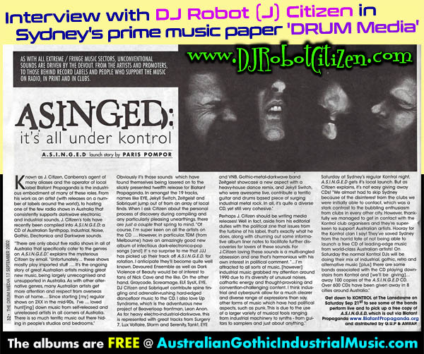 DJ Robot Citizen interviewed in DRUM Media Sydney Music Industry Newspaper Magazine 2002 about Australian Industrial Cyberpunk Rivetheads Cyber Goths Gothic Goth Dark Alternative Electronica Bands Scene
