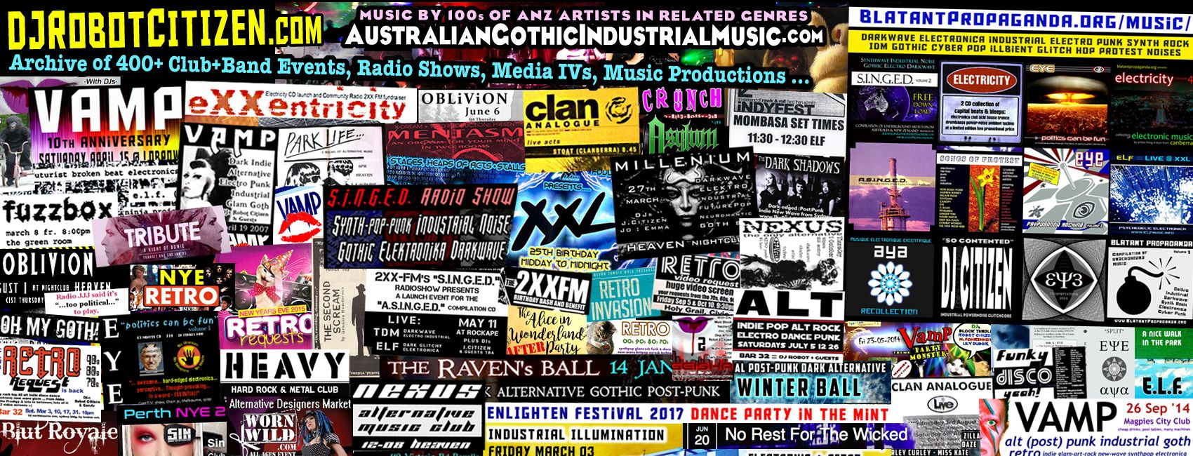Australian Gothic Goths Industrial Dark Alternative Music Goth Night Clubs Scene Australia Club Nights Parties DJs DJ Robot Citizen 80's 90's 00's 10's Scenes People History Sydney Melbourne Perth Brisbane Adelaide Canberra Musicians Musical Record Labels Bands Groups Artists