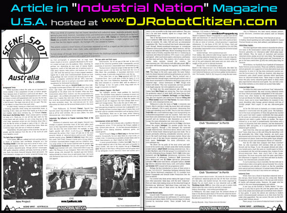 DJ Robot Citizen American Industrial Nation magazine USA 2002 About Australian Industrial Rivetheads Cyber Punk Goths Gothic Goth Club Scene DJs Dark Alternative Electronic Night Clubs Music Bands Australia Sydney Melbourne Brisbane Perth Adelaide Canberra Report Article