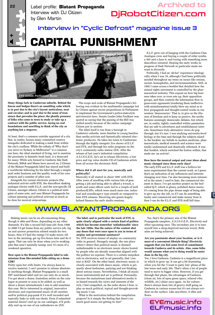 Cyclic Defrost Australian Magazine Experimental Electronic Independent Underground Dance Music IDM EDM Electronica Musicians Producers Artists Bands Groups Australia About Photos Cover Pics DJs Club Scene Sydney Melbourne Brisbane Perth Adelaide Report Article