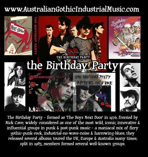 The Birthday Party (with Nick Cave, Mick Harvey, Rowland S Howard) Post-Punk Goth Rock Industrial Noise Melbourne Australian Music Band Group - picture photo image