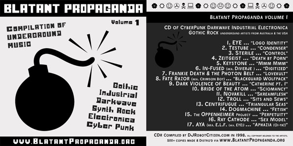 Compilations Albums Songs Early First Best Old Top Good Australian Underground Independent Alternative Record Label Blatant Propaganda Indie Cyber Punk Goth Gothic Elektro Industrial Darkwave Synth Rock Electronica Music Band Group Producer